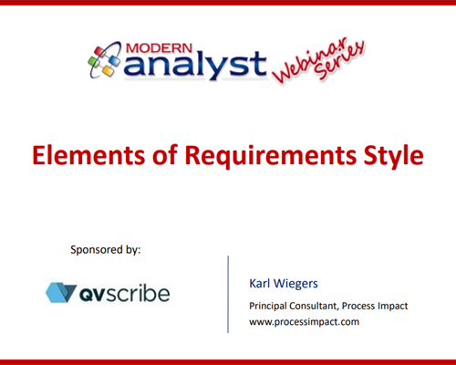 Webinar: Elements of Requirements Style